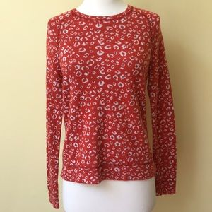 LOFT Leopard Spot Orange & White Crew Neck Sweater